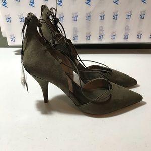 New Zara Basic Women's lace up olive heels size 8